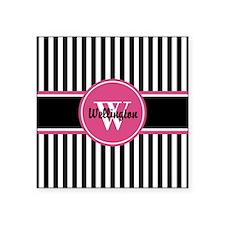 "Black and White Striped Pat Square Sticker 3"" x 3"""