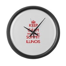 Keep calm we live in Summit Illin Large Wall Clock