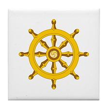 DHARMA BUDDHISM WHEEL Tile Coaster