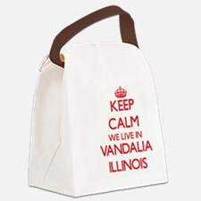Keep calm we live in Vandalia Ill Canvas Lunch Bag