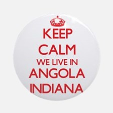 Keep calm we live in Angola India Ornament (Round)