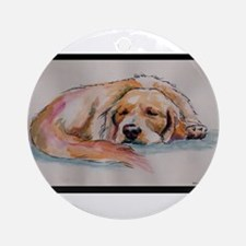 Sleeping Golden Retriever Ornament (Round)