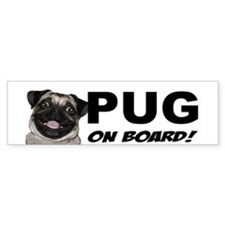 Pug on Board Bumper Bumper Sticker