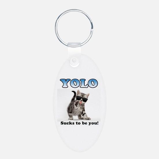 YOLO Cat Aluminum Oval Keychain