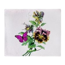 Pansy and butterfly Throw Blanket