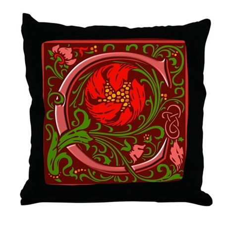 FLoral Initial C Throw Pillow