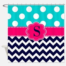 Teal Pink Navy Dots Chevron Monogram Shower Curtai