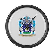 Kesseler Coat of Arms - Family Cr Large Wall Clock