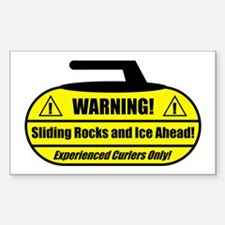 """Warning! Sliding Rocks..."" Rectangle Decal"