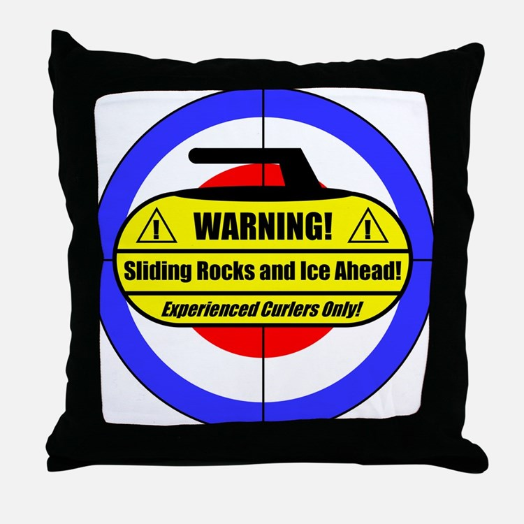 """Warning! Sliding Rocks..."" Throw Pillow"