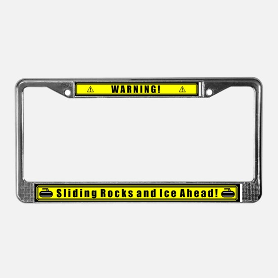 """Warning! Sliding Rocks..."" License Plate Frame"