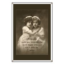 Friends Inspirational Quote Vintage Girls Banner