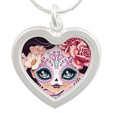 Camila Huesitos Sugar Skull Silver Heart Necklace