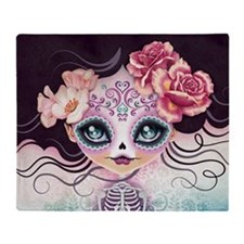Camila Huesitos Sugar Skull Throw Blanket