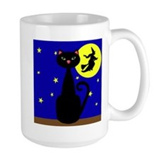 Black Cat Halloween Witch Mugs