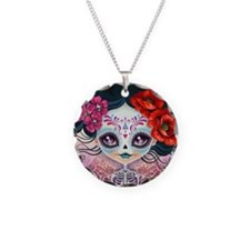 Amelia Calavera Sugar Skull Necklace Circle Charm