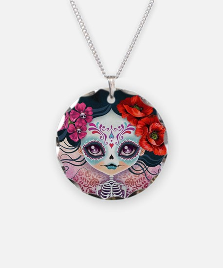 Amelia Calavera Sugar Skull Necklace Circle Charm