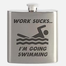 Work Sucks Im Going Swimming Flask