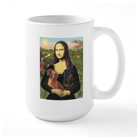 Mona Lisa (new) & Dachshund Pair Large Mug