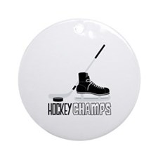 Hockey Stick Skate Puck Champs Ornament (Round)