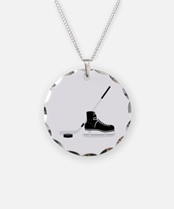 Hockey Stick Skate Puck Necklace