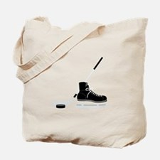 Hockey Stick Skate Puck Tote Bag