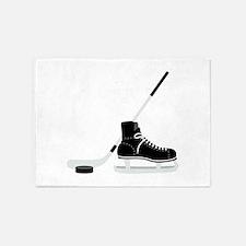 Hockey Stick Skate Puck 5'x7'Area Rug