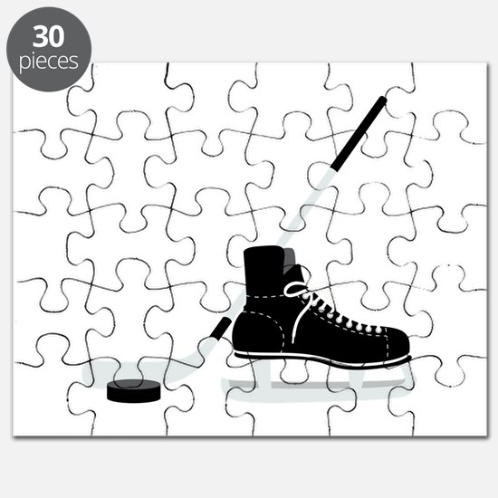 Hockey Stick Skate Puck Puzzle