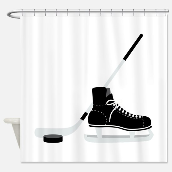 Hockey Stick Skate Puck Shower Curtain