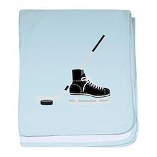 Hockey Stick Skate Puck baby blanket