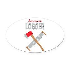 Saw Axe Lumberjack American Logger Oval Car Magnet