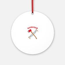 Saw Axe Lumberjack Logging Ornament (Round)