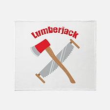 Saw Axe Lumberjack Logging Throw Blanket