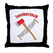 Saw Axe Lumberjack Logging Throw Pillow