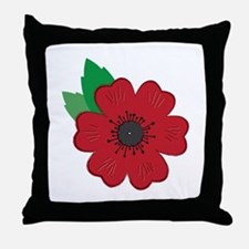 Remembrance Day Poppy Throw Pillow
