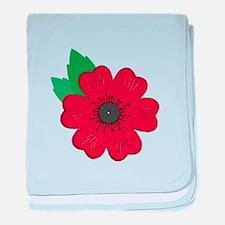 Remembrance Day Poppy baby blanket