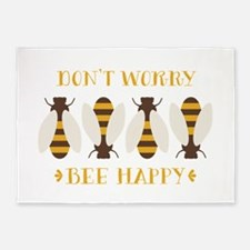 Don't Worry Bee Happy 5'x7'Area Rug