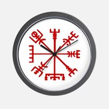 Blood Red Viking Compass : Vegvisir Wall Clock