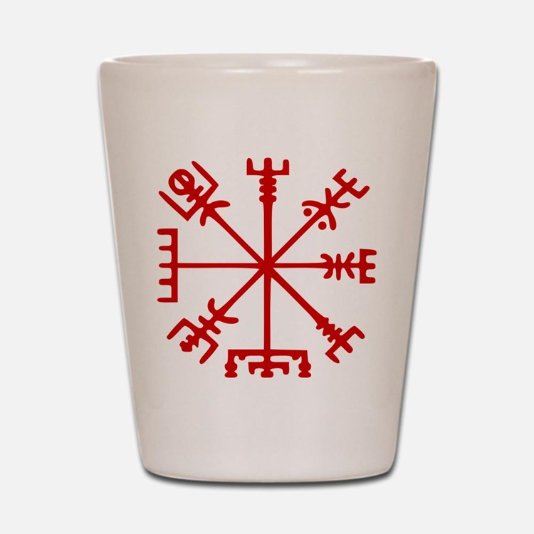 Blood Red Viking Compass : Vegvisir Shot Glass