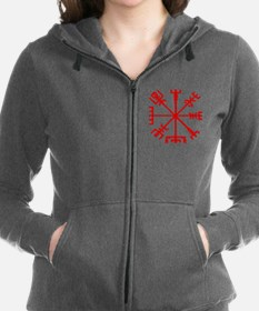 Blood Red Viking Compass : Vegvisir Women's Zip Ho