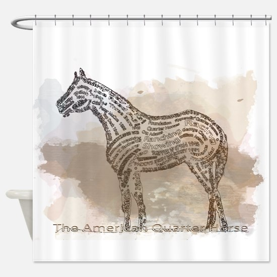 The Quarter Horse in Typography Shower Curtain