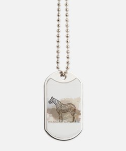 The Quarter Horse in Typography Dog Tags