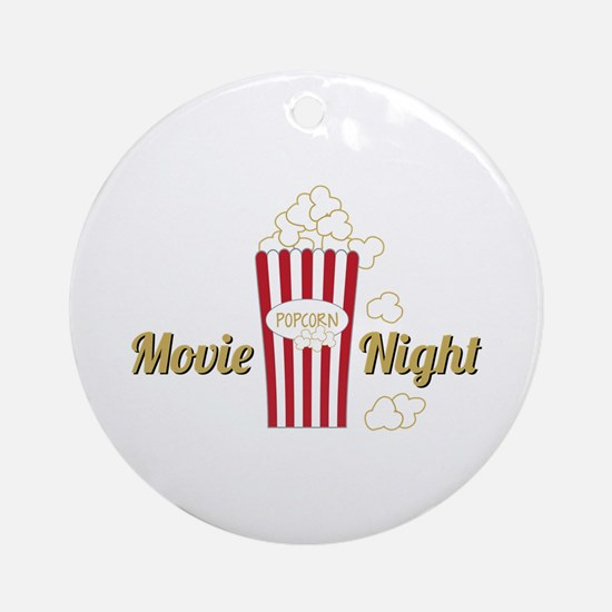 Movie Night Popcorn Ornament (Round)