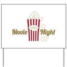 Movie Night Popcorn Yard Sign
