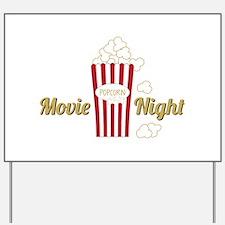 Movie Night Popcorn Yard Sign
