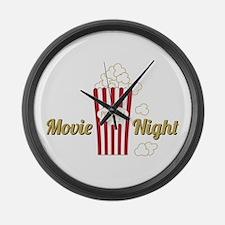 Movie Night Popcorn Large Wall Clock