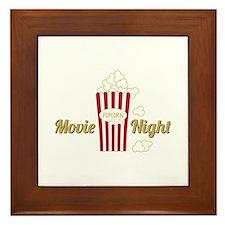 Movie Night Popcorn Framed Tile