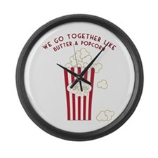 Butter and Popcorn Large Wall Clock