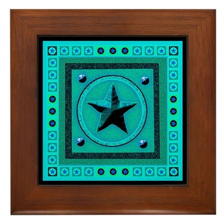 Turquoise Southwest Star Framed Tile