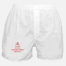 Keep calm we live in Warner Robins Ge Boxer Shorts
